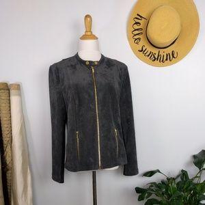 Calvin Klein Vegan Suede Moto Jacket Gray XL
